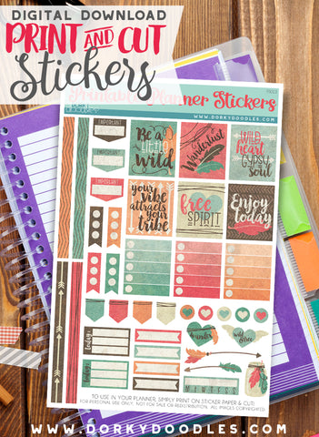 Shabby Chic Print and Cut Planner Stickers