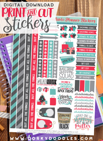 Black Friday Print and Cut Planner Stickers