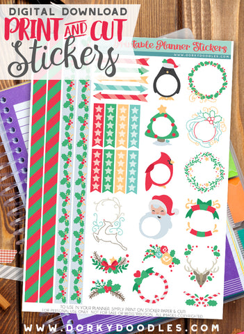 Christmas Frames Print and Cut Planner Stickers