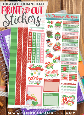 Holiday Fun Print and Cut Planner Stickers