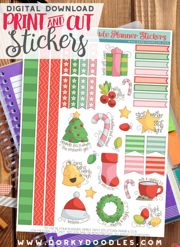 Silly Christmas Print and Cut Planner Stickers