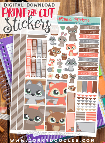 Forest Animals Print and Cut Planner Stickers