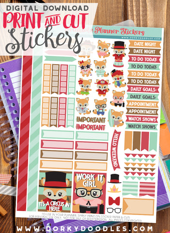 Cute Fox Print and Cut Planner Stickers