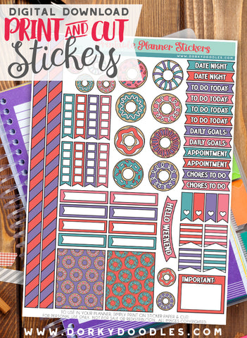 Cute Donut Print and Cut Planner Stickers