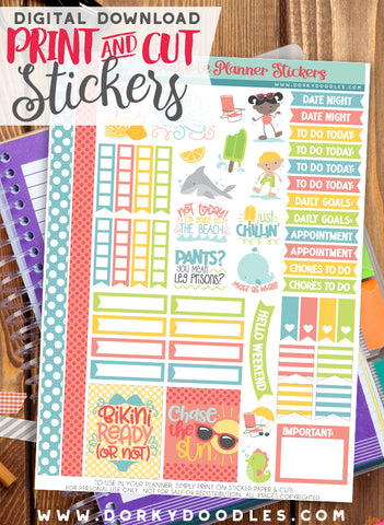 Silly Summer Print and Cut Planner Stickers