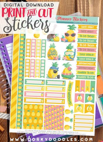 Pineapple Print and Cut Planner Stickers