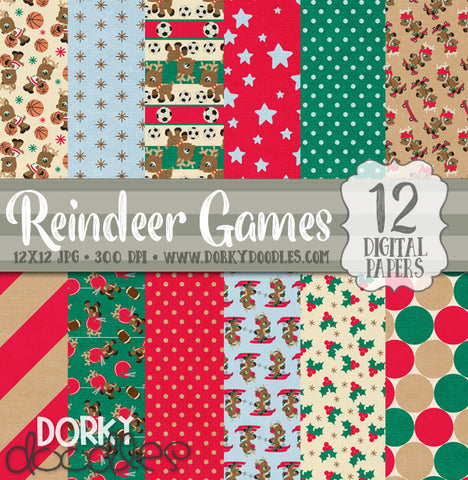 Reindeer Games Christmas Digital Paper Pack