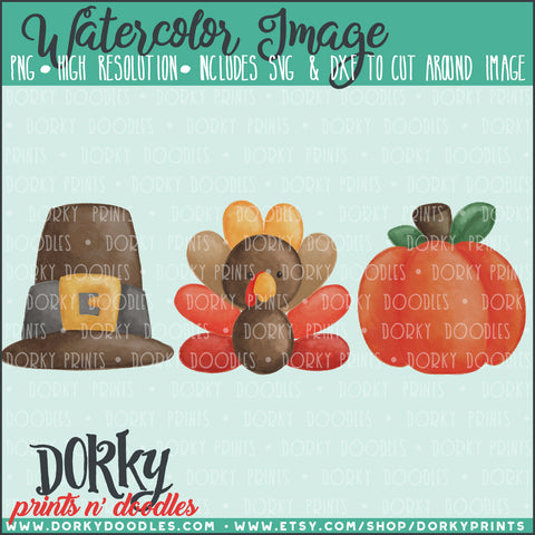 Thanksgiving Trio Watercolor PNG