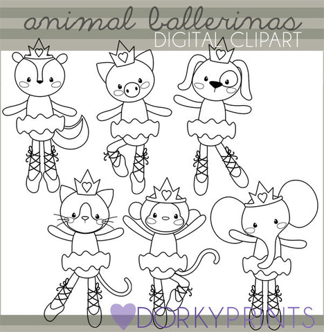 Ballerina Black Line Animals Clipart