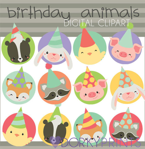 Animal Circles Birthday Clipart