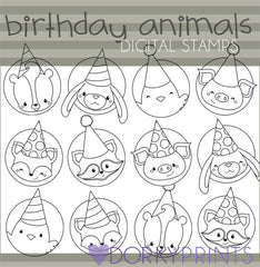 Animal Circles Black Line Birthday Clipart