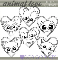 Animals in Hearts Black Line Valentine Clipart