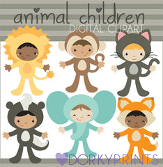 Animal Costumes Kid Clipart