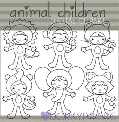 Animal Costumes Black Line Kid Clipart