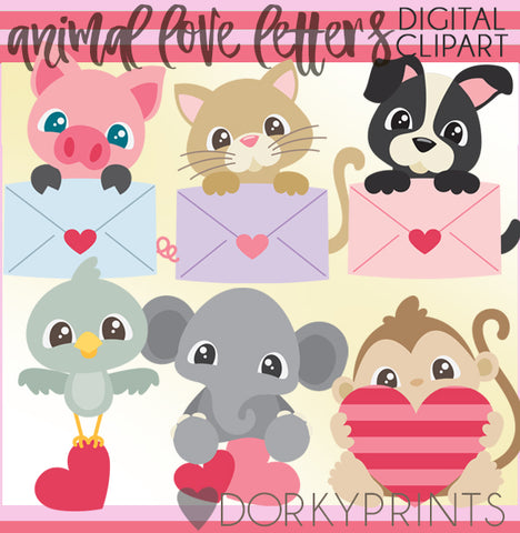 Animals with Love Letters Valentine Clipart