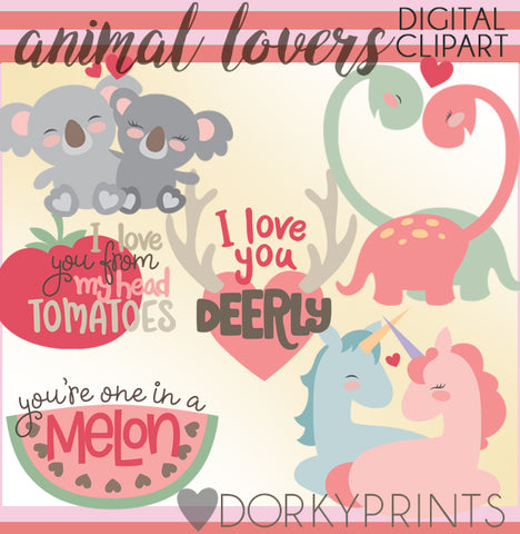 Animal Love Valentine Clipart