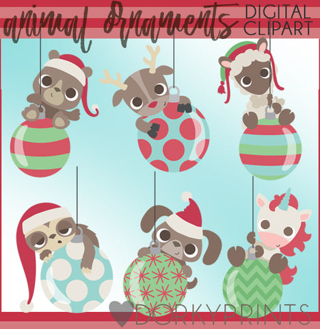Animal Ornaments Christmas Clipart