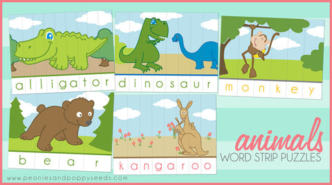 Animal Paper Puzzles Learning Printables