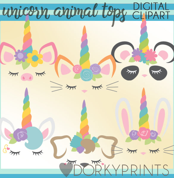 Unicorn Toppers Animals Clipart