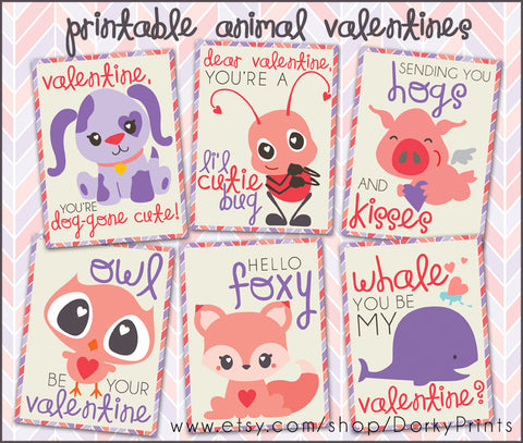 Animal Valentine Cards Holiday Printables