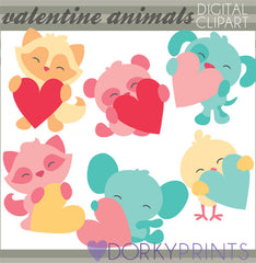 Animals Holding Hearts Valentine Clipart
