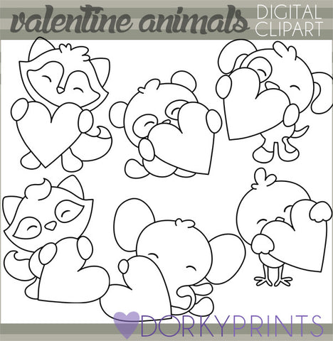 Animals Holding Hearts Black Line Valentine Clipart
