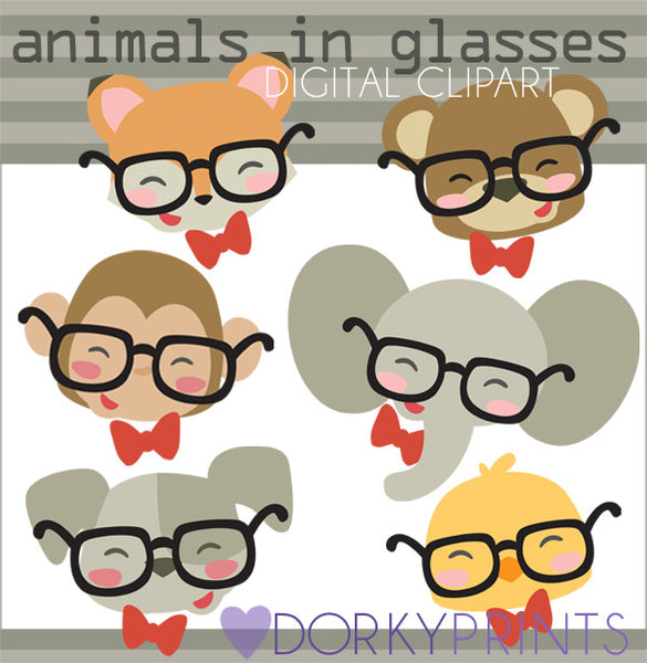 Wearing Glasses Animals Clipart
