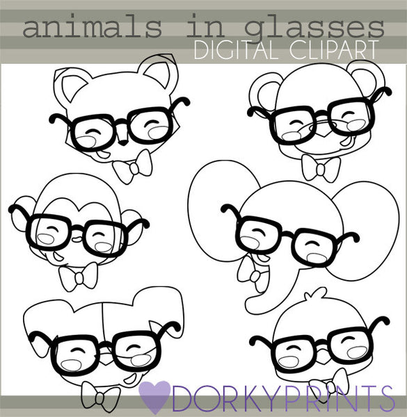 Wearing Glasses Black Line Animals Clipart