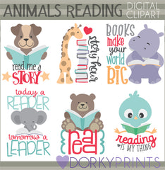 Reading Animals Clipart