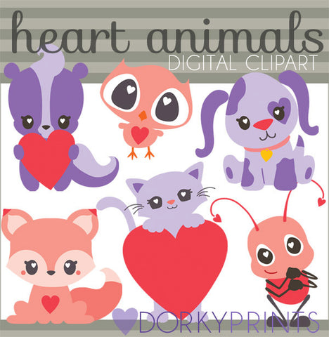 Animals with Hearts Valentine Clipart
