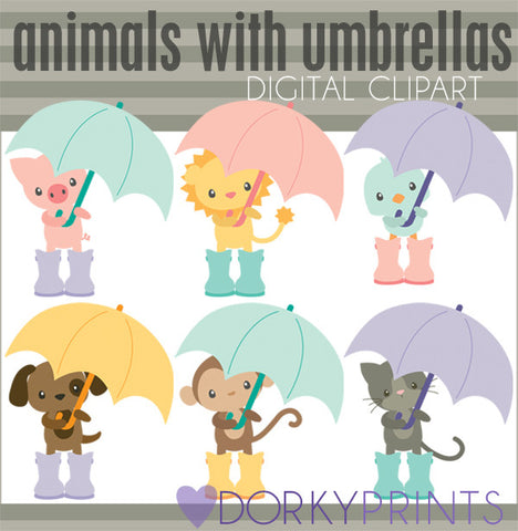 Animals with Umbrellas Spring Clipart
