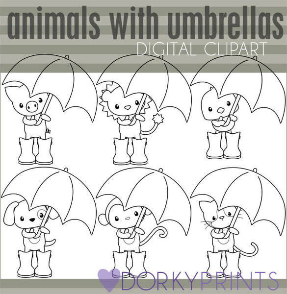 Animals with Umbrellas Black Line Spring Clipart
