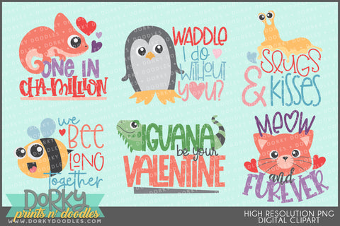 Animal Puns Valentine Clipart