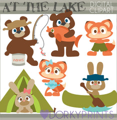 Animals at the Lake Summer Clipart