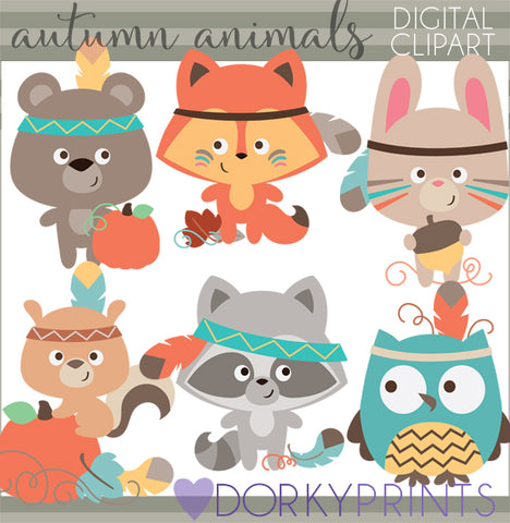 Tribal Animals Thanksgiving Clipart