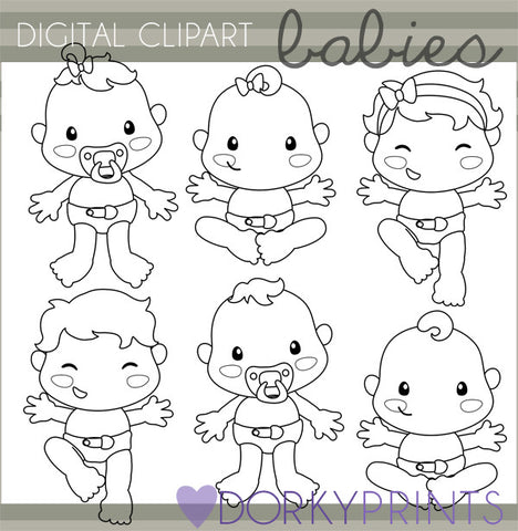 Cute Black Line Babies Clipart