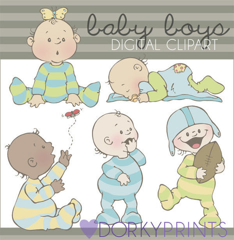Cute Boy Babies Clipart