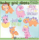 Baby Girl Dino Animals Clipart