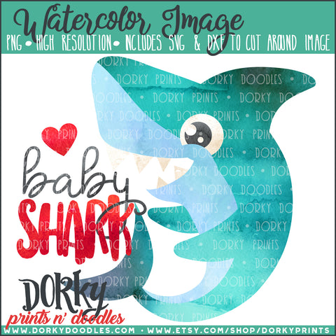 Baby Shark Watercolor PNG