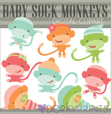 Colored Baby Sock Monkey Clipart