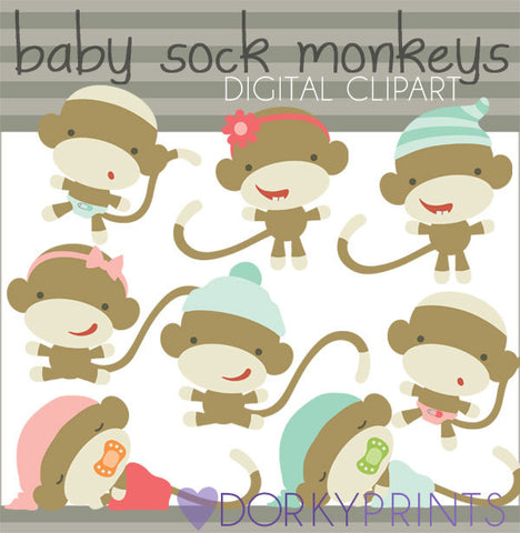 Baby Sock Monkey Clipart
