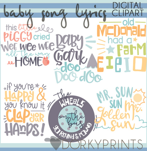 Baby Song Lyrics Wordart Clipart