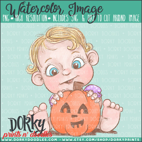 Baby with Pumpkin Watercolor PNG