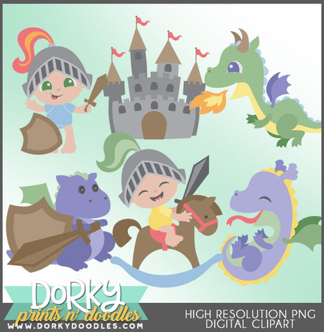 Baby Knights and Dragons Character Clipart