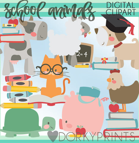 Farm Animal Back to School Clipart
