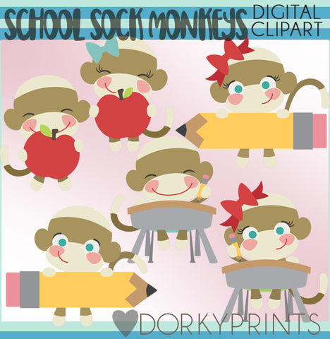 Sock Monkey School Clipart