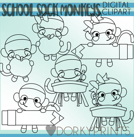Blackline Sock Monkey School Clipart