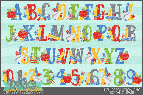 Back to School Font and Symbols Clipart