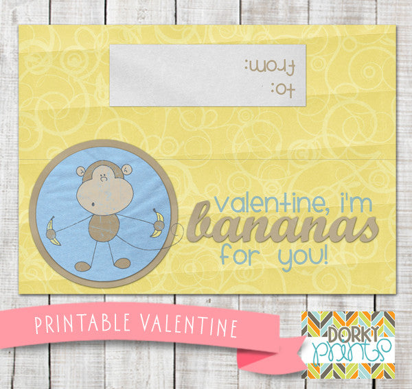 "Valentine ""Bananas for You"" Baggy Topper Holiday Printables"