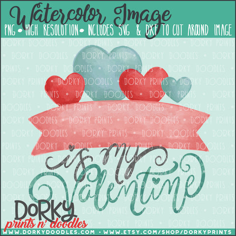 Heart Banner Valentine's Day Watercolor PNG
